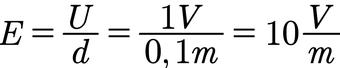 Beispiel für die Berechnung der elektrischen Feldstärke in einem Plattenkondensator