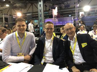 Die Bundesparteitagsdelegierten aus dem Kreis Gütersloh: (v.l.) Patrick Büker, Thorsten Baumgart, Hermann Ludewig