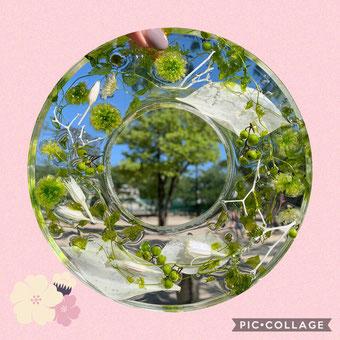 #クリスタルアートリウム名古屋#クリスタルアートリウム体験レッスン#ハルコレ認定校#クリスタルなリース#手作りウェディング#プリザーブドフラワー名古屋#