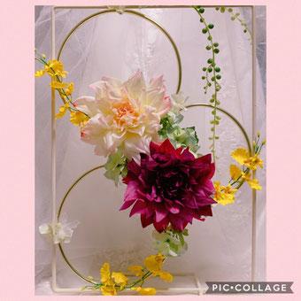 #手作りウェディング#アーティフィシャルフラワー#hoop #flower hoop #フープブーケ#結婚式受付#結婚式DECO#プレ花嫁DIY#花のある暮らし#ブーケ