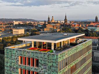 Haus der Presse, DDV Mediengruppe, Dachterrasse, Blick Dresden, Altstadt von Dresden