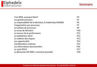 Contenu du guide de lecture ISO 9001
