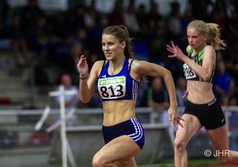 Jamira Lauf (813) holte in ihrem 300-m-Hürdendebüt den Kreistitel und die DM-Norm für die U16-Meisterschaften. (Foto: Jan-Hendrik Ridder)