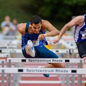 So schnell war er noch nie: David Klöckner läuft die 60-Meter-Hürden im Vorlauf in 7,93 Sekunden. (Archivfoto: Jan-Hendrik Ridder)