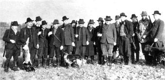 Flehinger Jagdgesellschaft in den 30er Jahren des vorigen Jahrhunderts