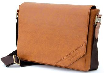 Stylische 16 Zoll Notebooktasche aus Leder im OldSchool Look