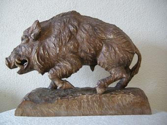Wildschwein Skulptur Schnitzerei Keiler