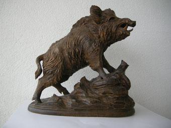 Wildschwein Keiler Wildsau Holzskulptur