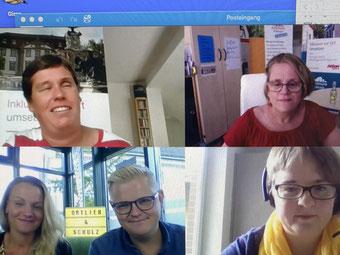 Screenshot aus der Aufnahme des 2. Videos. Ina Fischer, Gracia Schade, Jessica Bleifuss, Erik Ortlieb und Anja Schulz