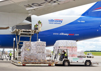 Loading of the Mosul destined relief goods into the 747-8F of Silkway at Hahn Airport  -  courtesy HHN