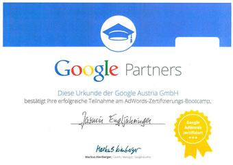 Zertifikat Google AdWords Jasmin Engljähringer