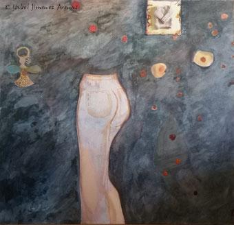 Adolescencia, óleo y lana, 130 x 135 cm.