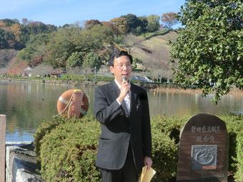爽やかな秋空の蓮華寺公園で訴えました