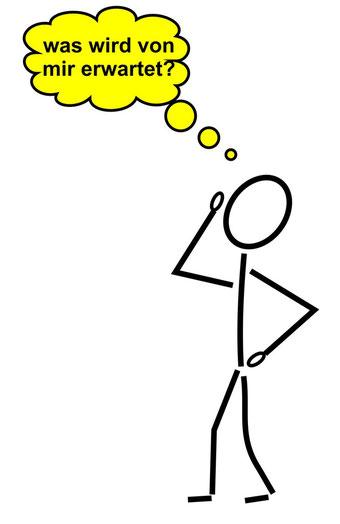 """Zeichnung eines Menschen, der sich fragt """"was wird von mir erwartet?"""""""