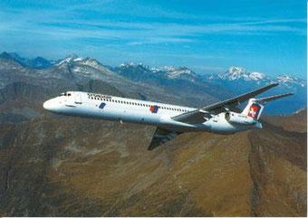 Crossair MD-80 über den Alpen/Courtesy: Crossair