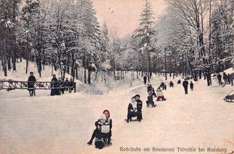 Rodeln 1909 - die Rodelbahn an der Talmühle Lotzdorf