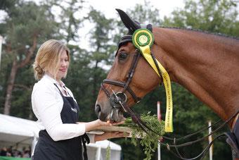 Glock's Debalia, het paard van Gerco Schröder die in 2017 de Grote Prijs van Outdoor Wierden won, krijgt een tractatie. Foto FotoTrailer