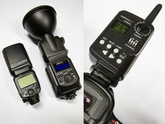 Größenvergleich mit Canon 600 EX-RT und Funkauslöser mit Steuerungsfunktion