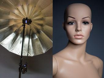 Light Shooter mit Power Porta entfesselt mit großem Reflexschirm gibt ein wunderbar weiches Portraitlicht