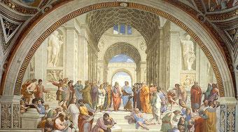 Ecoles d'Athènes. Fresque de Raphaël