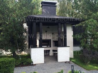 Открытая барбекю кухня под навесом с барбекю печью Духовка-русская печь мангал печь для плиты казана