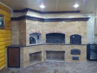 Баня с комплексом печей и барбекю мангал с русской печью и духовкой на дровах 3в1 с одной трубой