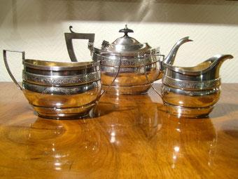 Tee-Set England Art Deco versilbert