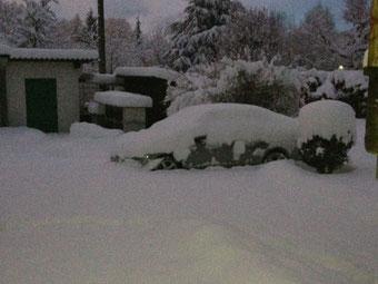 La neige est arrivée dans la nuit. Départ pour l'aéroport dans deux heures !