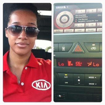 Enjoying air in the KIA Sorento before the event started