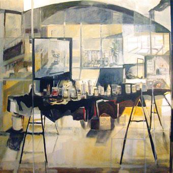 """""""Estudio con mesa negra"""", 185x185cm. téc. mixta . tela, 2006"""