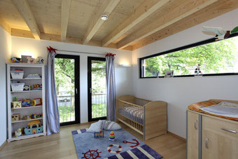 Timber ceilings in a flat pack home from Stommel Haus