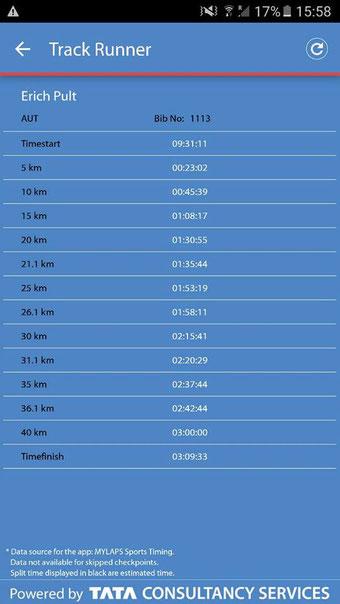 """Zwischenzeiten von Erich Pult beim Amsterdam Marathon 2016. Man beachte die Temposteigerung auf der 2. Hälfte (""""negative splits"""")"""