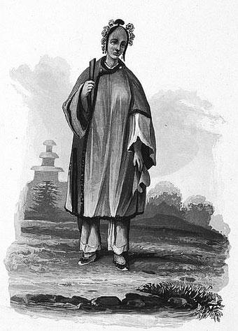 Femme de la haute classe. C. Laplace (1793-1875) : la CHINE, dans : Voyage autour du monde sur la Favorite (1830-1832). Et de : Campagne de circumnavigation de la frégate l'Artémise (1837-1840).