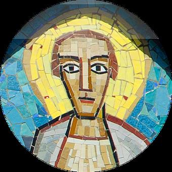 Mosaik des hlg. Bartholomäus, Darstellung in der Fassade der Bartholomäuskirche in Mannheim