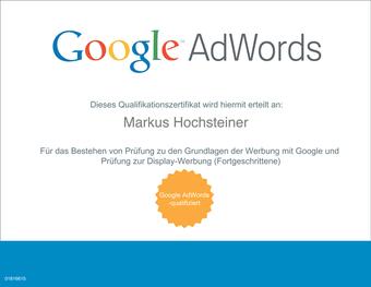 Google Adwords Zertifikat Markus Hochsteiner
