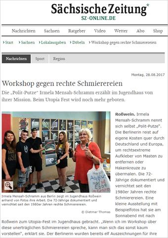 """SZ - 28.08.2017: Workshop gegen rechte Schmierereien Die """"Polit-Putze"""" Irmela Mensah-Schramm erzählt im Jugendhaus von ihrer Mission. Beim Utopia Fest wird noch mehr geboten."""