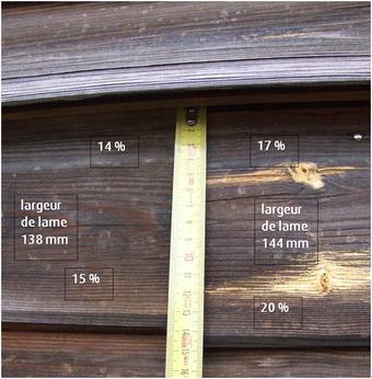 lames de bardage non alignées : joint décalé ; rétention d'eau différente et conséquence grave sur les autres rangées de lames