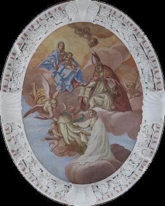Der hl. Norbert empfängt von Maria den Habit und von Augustinus die Regel – Fresko im Langhaus der Speinsharter Stiftskirche.