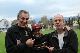 Marco Spath mit Silvio Durante und Claudio Durante (Ex-Club/Trainers) Wiedersehen macht Freude! 01.04.2017 Thun