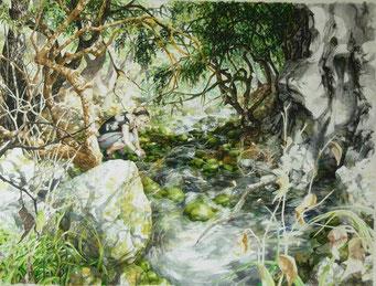 """""""A la source, an der Quelle"""",Tusche, Stifte, Aquarell,60 x 80 cm, 2010, verkauft"""