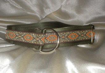 Zugstopp, Halsband, 4 cm, Gurtband olivgrün, edle Borte