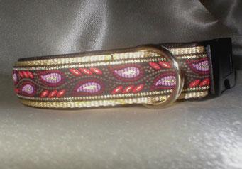 Klickverschluss, Halsband, 3cm, Gurtband beige, Borte Flames