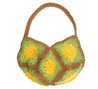 Cómo tejer un bolso con 8 cuadrados o granny squares tejidos a crochet