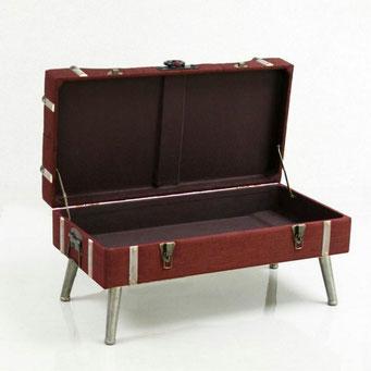 トランクベンチ ベンチ 椅子 収納 スツール インダストリアル ワインレッド