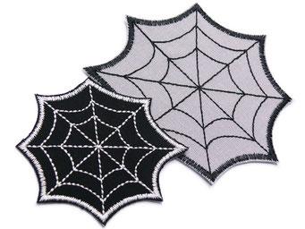 Bild: Spinnennetz Bügelbild Applikation Patch zum aufbügeln schwarz