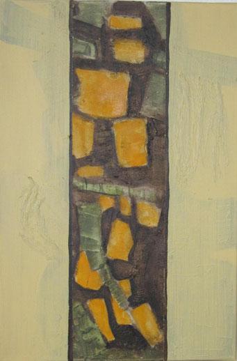 Nr. 2010-HO-019: 60 x 40 cm, Acryl, Schiefermehl, Marmormehl, Papiercollage, auf Leinwand