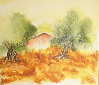 Finca unter den Olivenbäumen, Aquarell auf Leinwand, 70 x 60 cm,  Beatrice Ganz, 2017