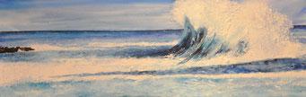 Die Welle an der Küste des Lichts, Aquarell auf Leinwand, 50 x 150 cm, Beatrice Ganz 2021