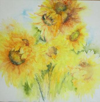 Sonnenblumen-Bouquet, Aquarell auf Leinwand, 80 x 80 cm, Beatrice Ganz, 2019