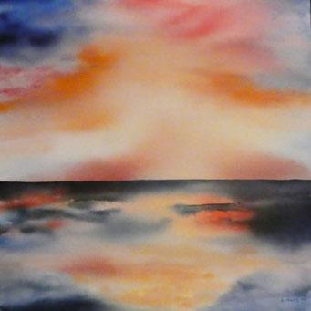 Abendstimmung, Aquarell auf Leinwand, 80 x 80 cm, Beatrice Ganz, 2018